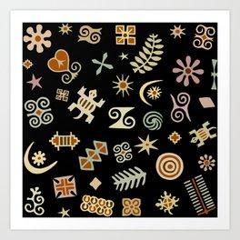 African Adinkra Symbols Art Print