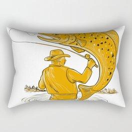 Fly Fisherman Reeling Trout Drawing Rectangular Pillow