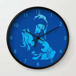 Mother Mary with Jesus Christ in blue Wall Clock