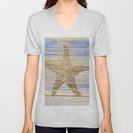 Starfish Beach House Lake House Coastal Art A179 Unisex V-Neck