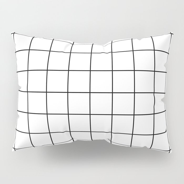 Grid Simple Line White Minimalistic Pillow Sham
