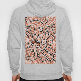 """The Face"" - inspired by Keith Haring v. orange Hoody"