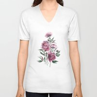 peony V-neck T-shirts featuring peony by Dao Linh