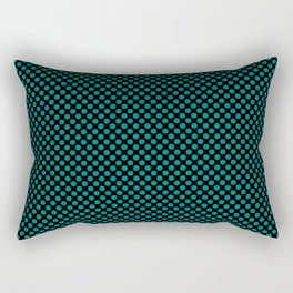 Black and Deep Peacock Blue Polka Dots Rectangular Pillow