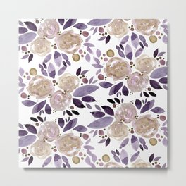 Abstract watercolor roses - ultra violet and beige Metal Print