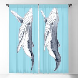 Baby humpback whale blue for boys and baby room Blackout Curtain