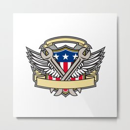 Crossed Wrench Army Wings American Flag Shield Metal Print