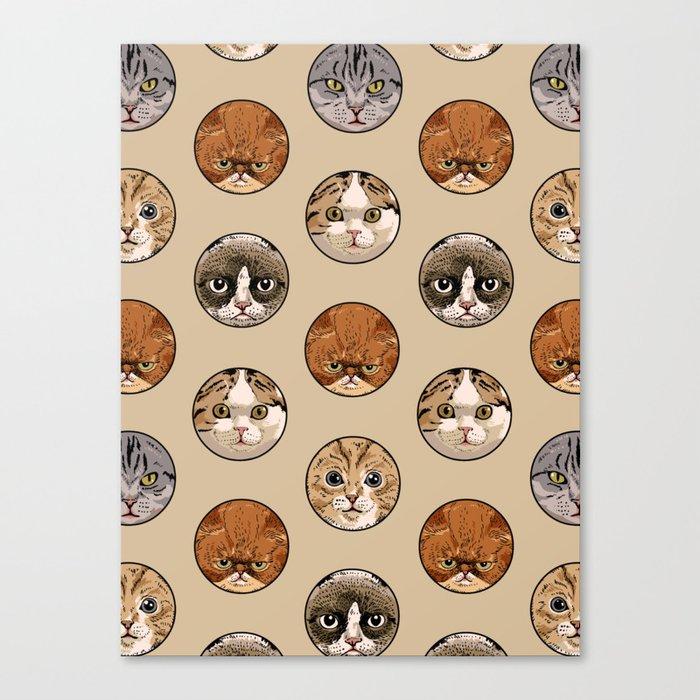 Polka Meaw Canvas Print