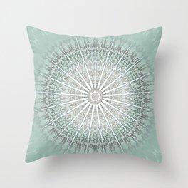 Mint Taupe Mandala Throw Pillow