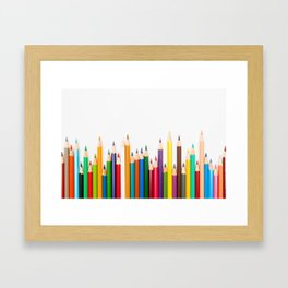 Color pencils in pattern Framed Art Print