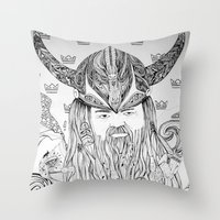 viking Throw Pillows featuring Viking by Infra_milk
