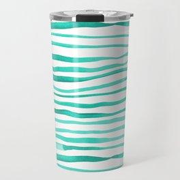 Irregular watercolor lines - turquoise Travel Mug