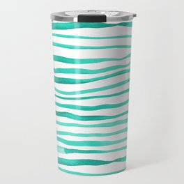 Irregular watercolor lines - turquoise Travel Mug