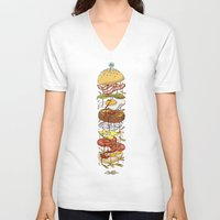 burger V-neck T-shirts featuring Burger by Duke.Doks