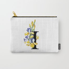 Letter 'I' Iris Flower Typography Carry-All Pouch