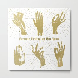 SET_OF_FEMALE_WITCHES_HANDS_GOLD_ON_BLACK Metal Print