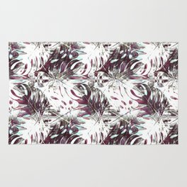 Pattern of white monstera and garnets Rug