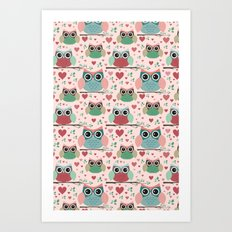 Owls in Love Pattern Art Print
