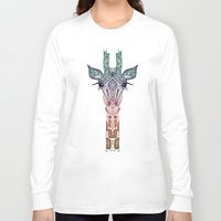 robin Long Sleeve T-shirts featuring GiRAFFE by Monika Strigel