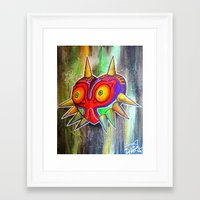 majora Framed Art Prints featuring Majora mask by Lyxy