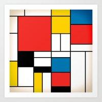 mondrian Art Prints featuring Mondrian  by Studio 401