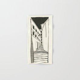 Narrow Passage: Ink Drawing Hand & Bath Towel