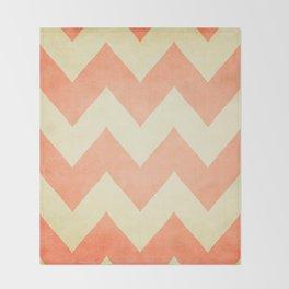 Fuzzy Navel - Peach Chevron Throw Blanket