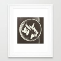 cigarettes Framed Art Prints featuring cigarettes by Sushibird