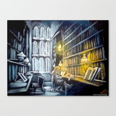 Hermione studying in the library Canvas Print