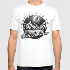 ADDICTED Mens Fitted Tee White MEDIUM