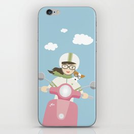 Scooter Girl with Dog Illustration iPhone Skin