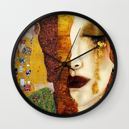 Gustav Klimt: The Kiss & Freya's Tears golden-red flower anemone college portrait painting Wall Clock