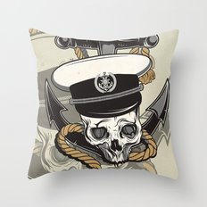 Skull with anchor Throw Pillow
