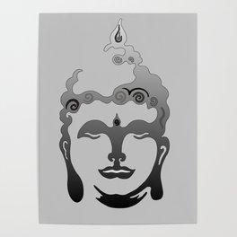 Buddha Head grey black Design Poster