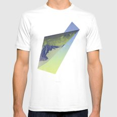 Triangle Mountains Mens Fitted Tee MEDIUM White