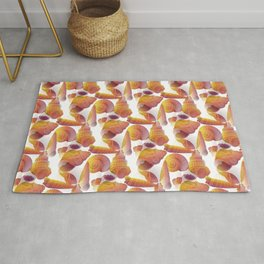 Ancient Seashells Illustration in Red Natural Colors Rug