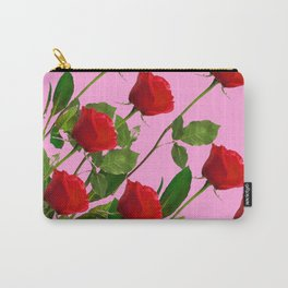 RED LONG STEMMED ROSES ON PINK Carry-All Pouch