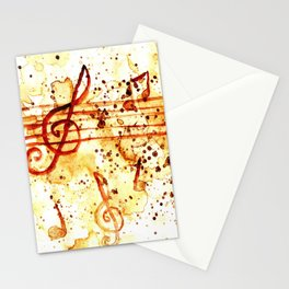 Coffee stains and music notes Stationery Cards