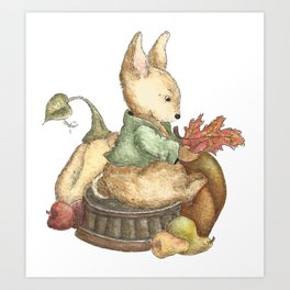 Vintage rabbit Art Print