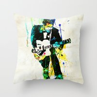 chuck Throw Pillows featuring chuck berry by manish mansinh