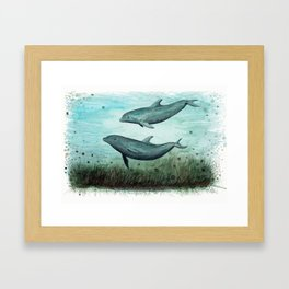 """Two Inshore Dolphins"" by Amber Marine ~ Watercolor Painting, (Copyright 2015) Framed Art Print"