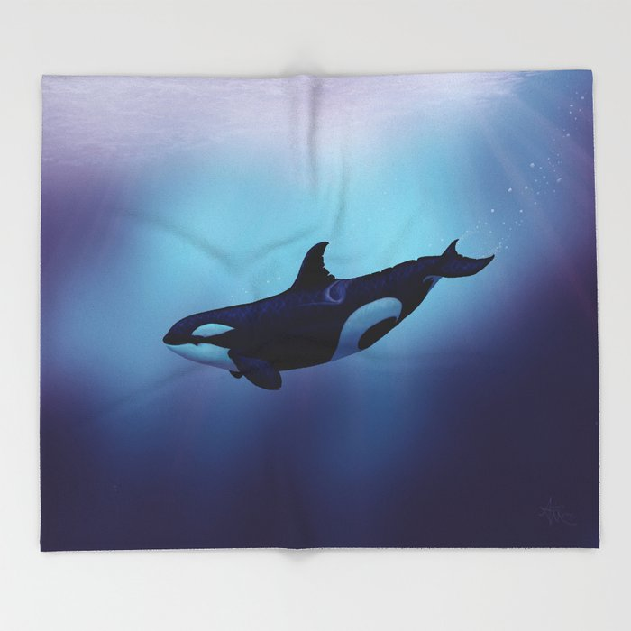 """""""Lost in Fantasy"""" by Amber Marine ~ Orca / Killer Whale Art, (Copyright 2015) Throw Blanket"""