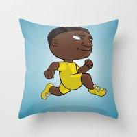 runner Throw Pillows featuring Runner by Jordygraph