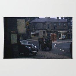 Vintage England * 1950's * Milk Cart * Delivery * Kodachrome * Horse * Car * Kiosk Rug