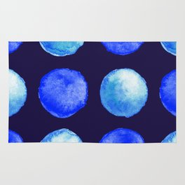 Winter Blue Watercolor Large Dots Pattern Rug