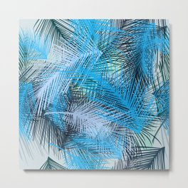 Jungle pampa blue forest. Tropical fresh forest pattern with palms Metal Print