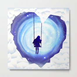 Girl Swinging in a Snow and Ice Heart Tunnel Metal Print