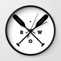 rowing Wall Clocks featuring Rowing x Oars by K Michelle