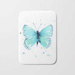 Blue Abstract Butterfly Bath Mat