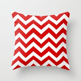 Rosso corsa - red color - Zigzag Chevron Pattern Throw Pillow